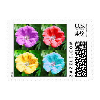 Funky flowers postage stamp