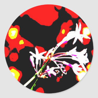 Funky Flowers Round Stickers