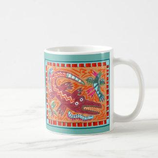 Funky Folk Art Alligator Coffee Mug
