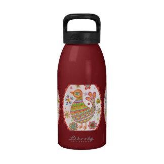 Funky Folk Art Bird Water Bottle Water Bottles
