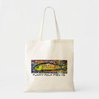 Funky Folk Fish #12 Tote Bags