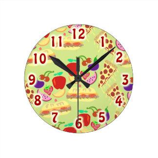 Funky Food Pattern Round Clock
