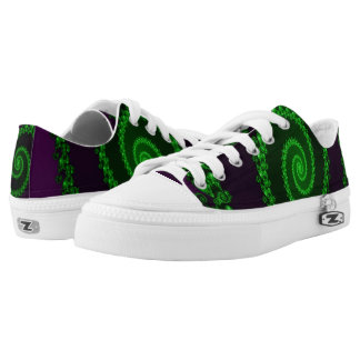 Funky Fractal Purple Green Zip Low Top Shoes