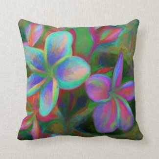 Funky Frangipani Throw Pillow