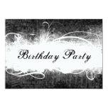 Funky Fresh Black Grunge Birthday Party Invitation