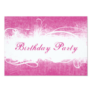 Funky Fresh Pink Grunge Birthday Party Invitation