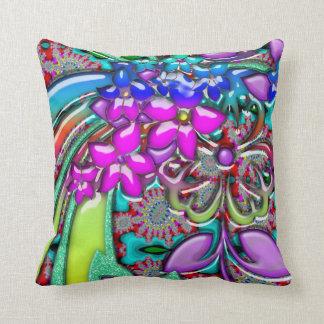 Funky Fresh Rainbow Of Retro Flowers Throw Pillow