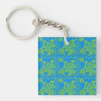 Funky Frog Blue Green Toad Kids Doodle Art Keychain