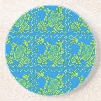 Funky Frog Blue Green Toad Kids Doodle Art Sandstone Coaster