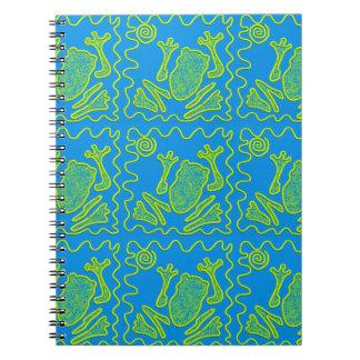 Funky Frog Blue Green Toad Kids Doodle Art Spiral Notebook