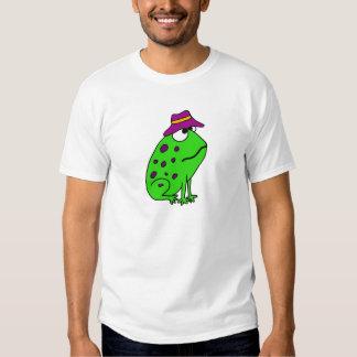 Funky Frog in Fishing Hat Cartoon T-Shirt