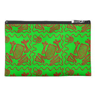 Funky Frog Lime Green Red Toad Kids Doodle Art Travel Accessory Bag