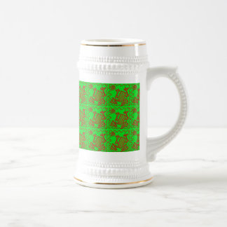 Funky Frog Lime Green Red Toad Kids Doodle Art Beer Stein