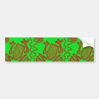 Funky Frog Lime Green Red Toad Kids Doodle Art Bumper Sticker