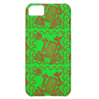 Funky Frog Lime Green Red Toad Kids Doodle Art iPhone 5C Cover