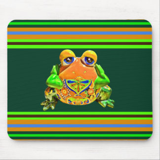 Funky Frog Orange Green Striped Novelty Gifts Mouse Pad