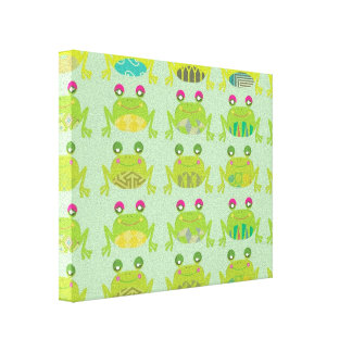 funky froggy frogs stretched canvas prints