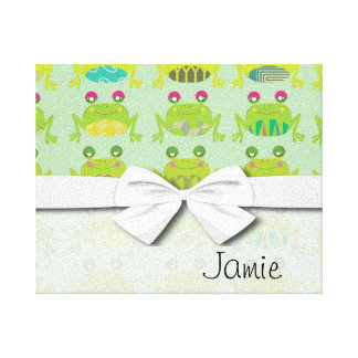 funky froggy frogs canvas print