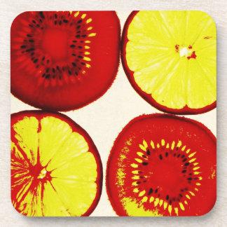 funky fruit pop art coasters