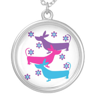 Funky fun floral retro basset hound dog necklace