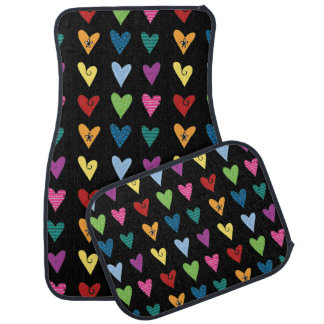 Funky Fun Heart Doodles Car Floor Mat