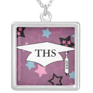 funky fun stars grad graduation square pendant necklace