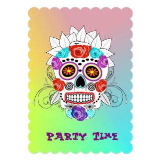 Funky Fun Sugar Skull and Roses Celebrations Card