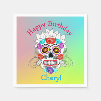Funky Fun Sugar Skull and Roses Napkin