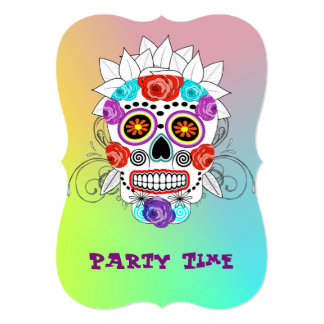 Funky Fun Sugar Skull and Roses Party Time Card
