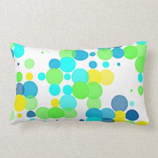 Funky Fun Vibrant Summer Colors Polka Dots Pattern Lumbar Pillow