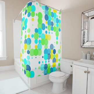 funky fun vibrant summer colors polka dots pattern shower curtain