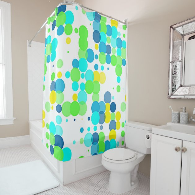 Funky Fun Vibrant Summer Colors Polka Dots Pattern Shower Curtain Zazzle Com