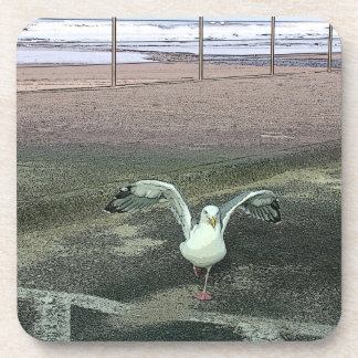Funky funny seagull running beverage coaster
