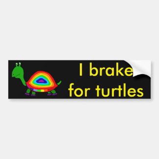 Funky Funny Turtle with Rainbow Shell Art Bumper Sticker