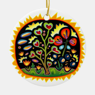Funky Garden Double-Sided Ceramic Round Christmas Ornament