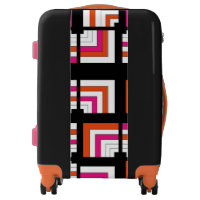 Funky Geometric Bright Orange Pink Trendy Luggage