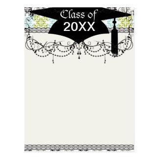 funky geometric graduation damask post card