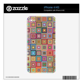 Funky Geometric Granny Style Squares Skin For The iPhone 4