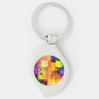 Funky Geometric Multicolored Design Keychain
