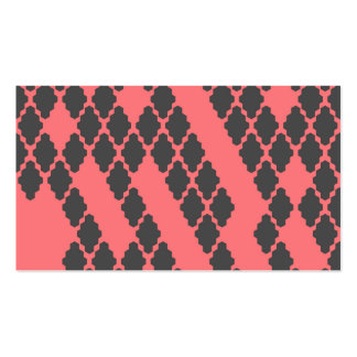 Funky Geometric Red Black Checkered Pattern Business Card