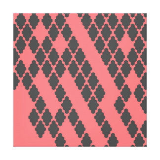 Funky Geometric Red Black Checkered Pattern Stretched Canvas Prints