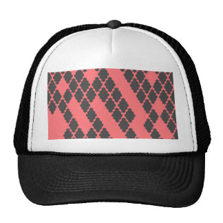 Funky Geometric Red Black Checkered Pattern Trucker Hat