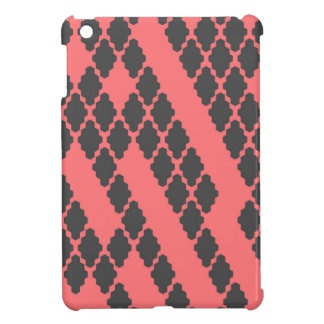 Funky Geometric Red Black Checkered Pattern iPad Mini Case