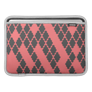 Funky Geometric Red Black Checkered Pattern MacBook Air Sleeves