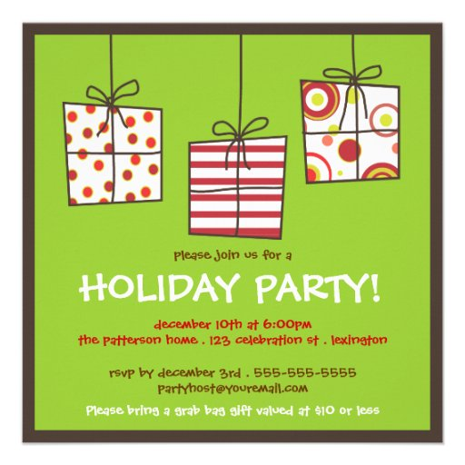 Funky Gifts Holiday Grab Bag Party Invitation Zazzle