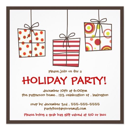 Funky Gifts Holiday Grab Bag Party Invitation | Zazzle