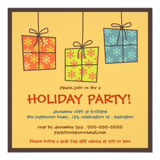 Funky Gifts Retro Holiday Grab Bag Party Square