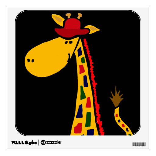 Funky giraffe art wall decal zazzle for Funky wall art