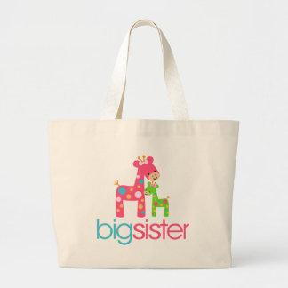 Funky Giraffe Big Sister Tshirt Large Tote Bag