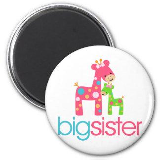 Funky Giraffe Big Sister Tshirt 2 Inch Round Magnet